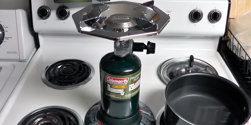 Coleman Portable Bottletop Propane Camp Stove with Adjustable Burner in the use