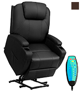 Tangkula Massage Recliner with Electric Lift Power, Ergonomic Design Heated Vibrating with 2 Cup Holders, Side Pouch, Remote Control