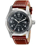 Hamilton H70555533 Men's Khaki Field Stainless Steel Automatic Watch with Brown Leather Band