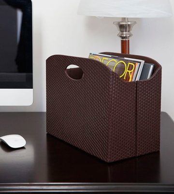 Review of Blu Monaco Leather Magazine Holder Rack and Storage