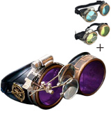 UMBRELLALABORATORY Holographic Steampunk Goggles with Compass Design and Ocular Loupe