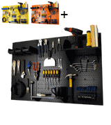 Wall Control 30-WRK-400 BB Metal Pegboard Storage Kit with Black Toolboard and Black Accessories