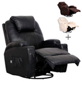 Esright Massage Recliner Heated PU Leather Ergonomic Lounge 360 Degree Swivel
