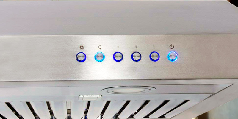 "BV BV-RH-801 30"" Under Cabinet Ducted Kitchen Range Hood with LED Lights in the use"