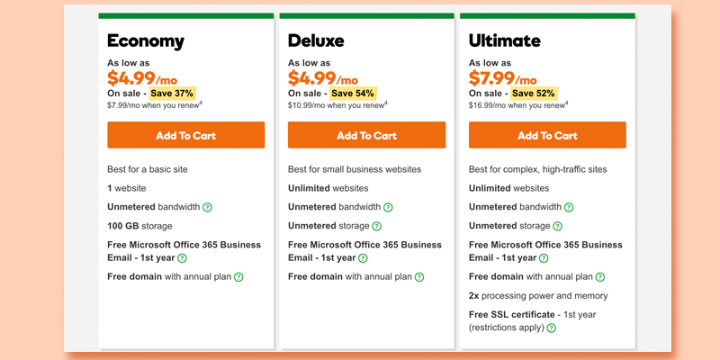 GoDaddy Web Hosting in the use