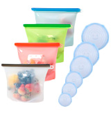 SPANLA Reusable Silicone Stretch Lids & Silicone Food Storage Bag