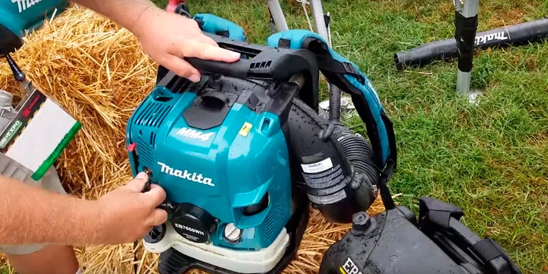 Makita EB7650WH Hip Throttle Backpack Blower in the use