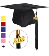 GraduationMall Unisex Adult Matte Graduation Cap with Tassel 2018