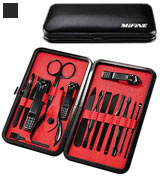 Mifine 16pcs Mens Manicure Set Stainless Steel Professional Grooming Kit