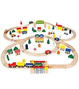 Orbrium Toys Triple-Loop Wooden Train Set