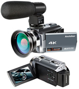 Ansteker 4K Camcorder, 48MP 30FPS Ultra HD WiFi Video Camera IR Night Vision