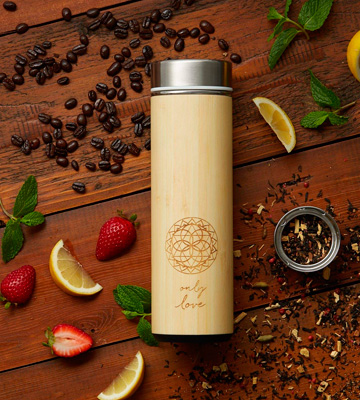 Review of Sacred Lotus Love 18 oz Bamboo Tea Tumbler Thermos with Strainer and Infuser + Sleeve