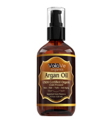 VoilaVe Argan Oil Virgin USDA & ECOCERT Certified Organic Moroccan Argan Oil for Skin, Hair & Nails—Cold-Pressed, Unrefined, 100% Pure