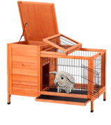 Petpark Rabbit Hutch Wood Rabbit Cage Indoor for Small Animals