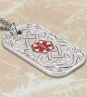 Review of BAIYI Stainless Steel Celtic Pattern Tag Medical Alert ID Necklace