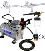 Master Airbrush KIT-SP7B-20-2 Air Compressor and 3 Airbrushes Kit