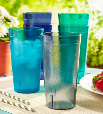 Review of US Acrylic Cafe 20-ounce Restaurant-Style Beverage Tumblers | Set of 16 in 4 Coastal Colors