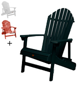 Highwood AD-KING1-BKE King Hamilton Folding and Reclining Adirondack Chair