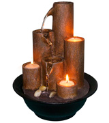 Alpine WCT202 Tiered Column Tabletop Fountain with 3-Candles