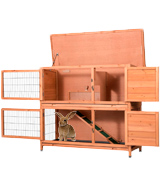 Good Life USA Hutch Rabbit Cage Two Floors Wooden Outdoor Indoor Bunny