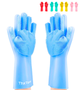 ThxToms Silicone Scrub Cleaning Gloves with Scrubber for Dishwashing and Pet Grooming