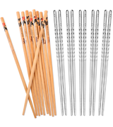 Hiware Metal and Bamboo Chopsticks Set