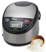 Tiger JAX-T10U-K (Uncooked) Micom Rice Cooker with Food Steamer & Slow Cooker