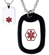 BBX JEWELRY NC1014DZ Medical Alert ID Tag Necklace with Rolo Chain