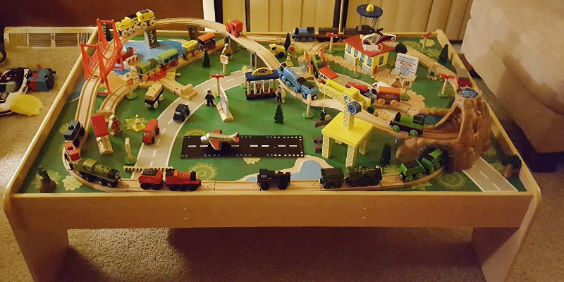 KidKraft Waterfall Mountain Train Set and Table in the use