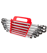 Tekton WRN77164 6 Piece Flex-Head Ratcheting Box End Wrench Set (Metric)