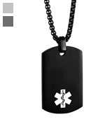 JF.MED PN-YX005BB-20 Medical Alert ID Pendant,Free Engraving