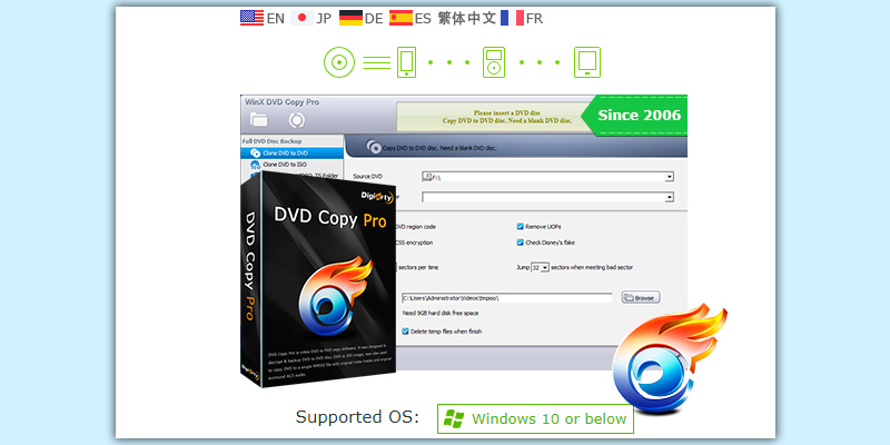 Digiarty WinX DVD Copy Pro Burner + Backup Software in the use