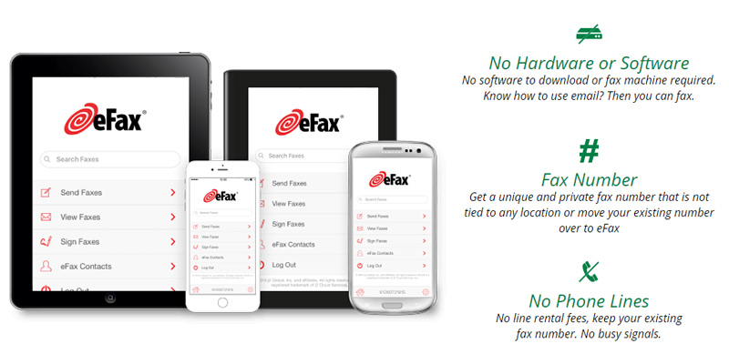 eFax Online Fax Service in the use