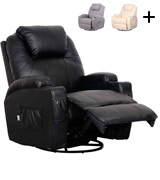 Esright Massage Recliner Heated Fabric Ergonomic Lounge 360 Degree Swivel