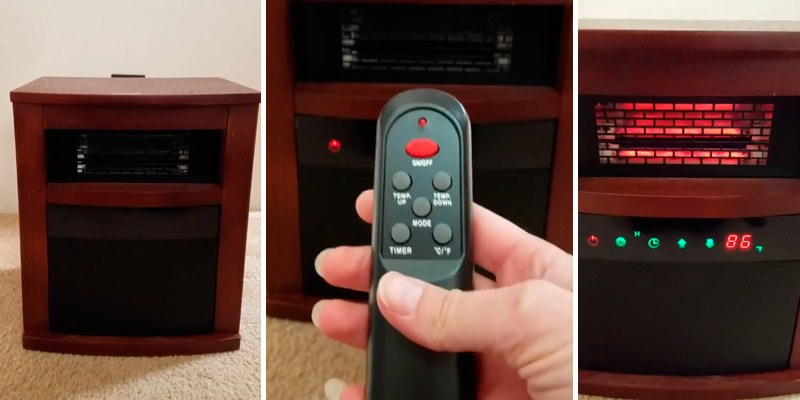Air Choice Portable Infrared Heater with Remote and Timer in the use