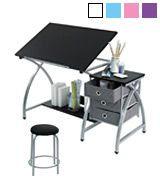 Studio Designs Comet Center Drawing Table with Stool and Storage