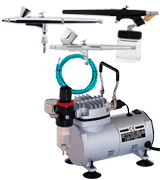 PointZero KIT-GP-47 Air Compressor and 3 Airbrushes Kit