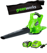GreenWorks 24322 Cordless Leaf Blower & Vacuum, 4Ah Battery and Charger Included