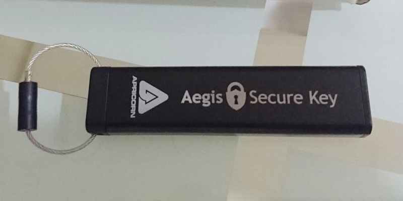 Apricorn Aegis Secure Key Encrypted Flash Drive in the use