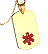 Mealguet Jewelry MG-PN-274G Medical Alert ID Tag -Free Custom Engraving