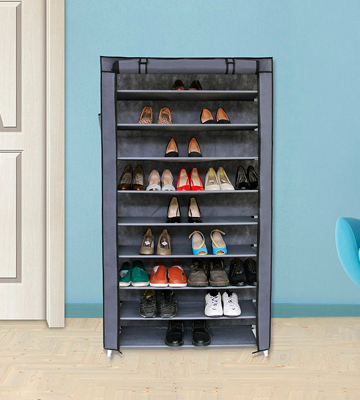 Review of SONGMICS URXJ36G 10 Tiers Shoe Rack with Dustproof Cover