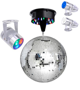 Yescom 27SET002-12IN-RGB 12 Mirror Disco Ball with Rotating Motor and LEDs Multi-color Spotlight Kit