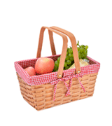 CALIFORNIA PICNIC Double Folding Handles Picnic Basket Natural Woven Woodchip