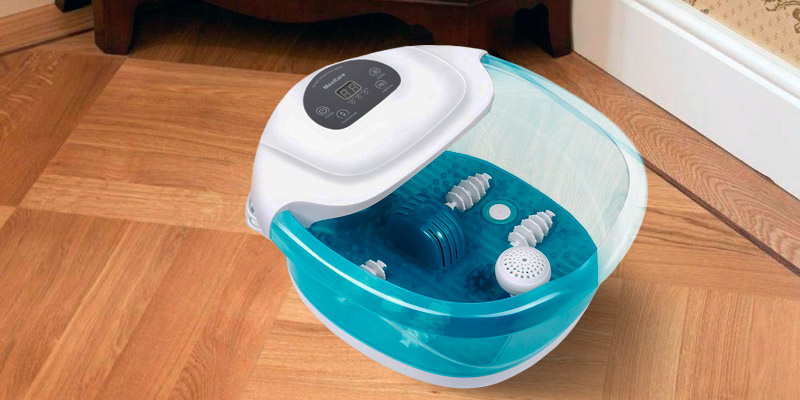MaxKare SG_B07BT611XV_US Foot Spa/Bath Massager with Heat Bubbles Vibration 3 in 1 Function, 4 Masssaging Rollers Pedicure Tired Feet Stress Relief Help in the use