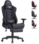 Ficmax RE-FX-007 Gaming Chair (with Footrest, Bucket Seat and Lumbar Support)