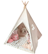 Tiny Land Kids Teepee Tent with Padded Mat & Light String& Carry Case