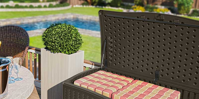 Detailed review of Suncast DBW9200 Wicker Resin Deck Box