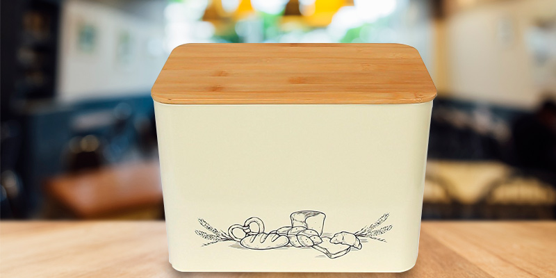 Review of Cooler Kitchen Extra Large Vertical Bread Box With Eco Bamboo Cutting Board Lid