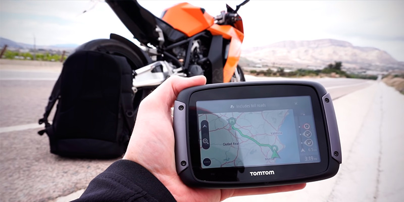 TomTom Rider 550 Motorcycle GPS Navigation Device in the use